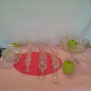 VINTAGE PINWHEEL  CRYSTAL  Glasses and Bowls ** SEE EACH PRICE .