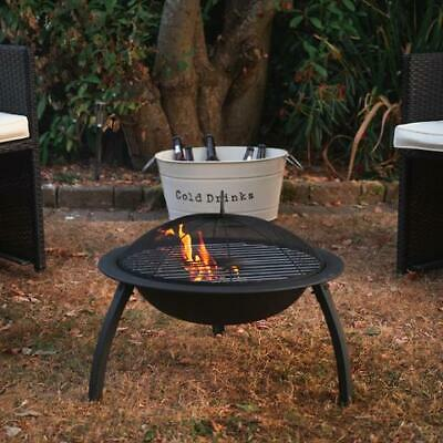 Black Garden Outdoor Fire Patio Heater/Grill Bowl Round Mesh Dome Lid Poker 54Cm
