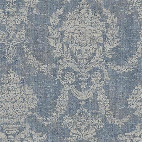 Wallpaper Designer Weathered French Cottage Style Cream Damask on Light Blue
