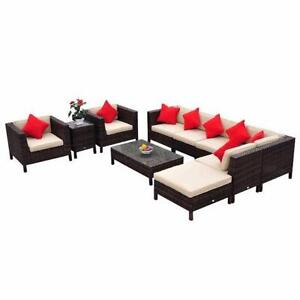 Deluxe Outdoor 9 pcs Rattan Sofa Set Garden Patio furniture/ Garden Patio  furniture on sale for special price