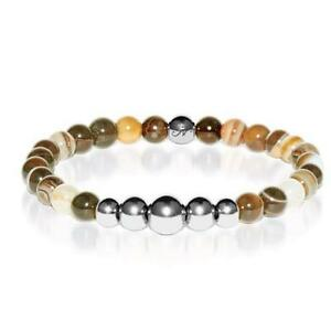 50% OFF All Jewellery - Abundance | Silver Aura Grey Line Agate Bracelet