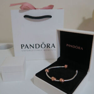 PANDORA ROSE GOLD BRACELET W/ 3 CHARMS, AUTHENTIC & BARELY WORN