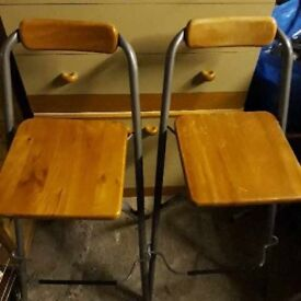 2 pairs of wooden bar stools