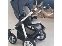 Baby design denim dotty pushchair