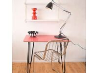 VINTAGE 1950S FORMICA TABLE - HAIRPIN LEGS - IDEAL DESK, RED / BLACK