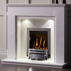 White Marble Fireplace with led Lights