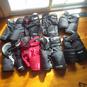6x Hockey and Goalie Pants, Black and Red, sizes Jr S up to Sr S