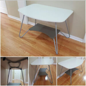 "44"" Wide White Table with Powder Grey Metal Legs"