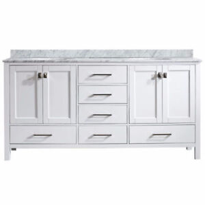 "72"" Double Vanity White Marble Top ***Scratch & Dent***"