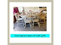 Solid oak table & 6 or 4 chairs (£249) shabby chic