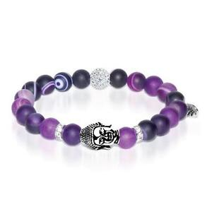 50% OFF All Jewellery - Feng Shui | White Gold Buddha | Matte Purple Striped Agate Bracelet