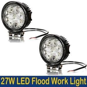 2PCS 27w 4 Inch Round Flood Light Led Work Off Road Fog Driving