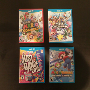 Wii U with three special remotes and six games