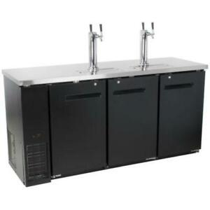 Black Kegerator / Beer Dispenser with (2) Double Tap Towers . *RESTAURANT EQUIPMENT PARTS SMALLWARES HOODS AND MORE*