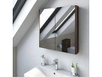 Oak 2 door bathroom mirror cabinet