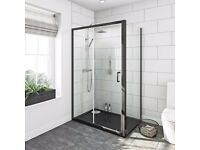 Black granite effect rectangular stone shower tray 1200 x 800