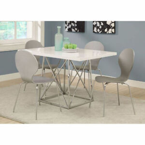 Monarch Glossy/Chrome Metal Dining Table, 36 by 48 Inch, White