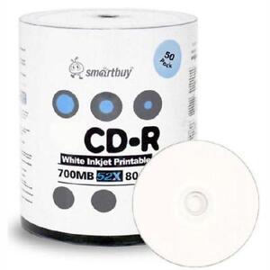 Smartbuy White Inkjet Printable CD-R's - Shrink Wrap - 50/Pack