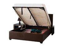 BRANDNEW Flatpack Storage Bed Frames 4ft6 Double Brown Black Very Good quality Bed Fast Delivery