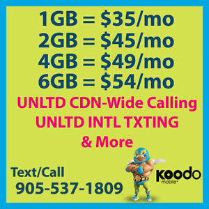 ★ $55 Koodo Plan ★ 8GB LTE ★ UNLTD CDN TLK/TXT ★ + More Plans ★