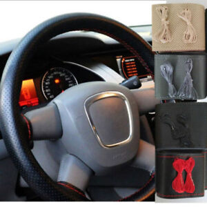 New Leather Car Steering Wheel Cover With Needle and Thread.