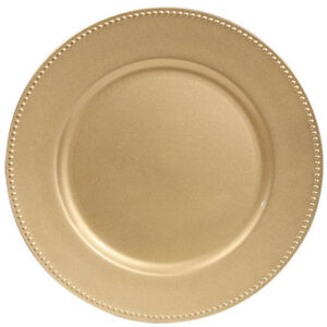 131 gold charger plates with beaded edges - $130