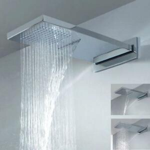 Luxury Dual Function Waterfall Rain Shower Head Brass Chrome