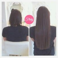 CERTIFIED EXTENSIONIST: tape in, beaded weft, micro tape
