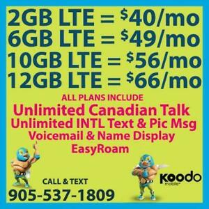 KOODO 6GB LTE $49/mo, 10GB LTE $56/mo + UNLTD CAD Talk & INTL Text  ~ Plans By Cell Phone Guru