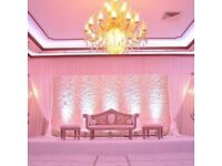 Wedding Venue Stage Decoration £299 Luxury Throne Hire £199 Reception Table Decor£9 Hire Chair Cover