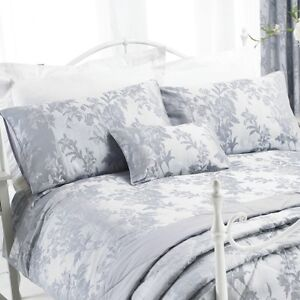 SUPERB KING SIZE REGAL JACQUARD DAMASK SILVER GREY COTTON DUVET SET QUILT COVER