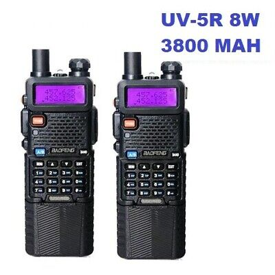 2 Pack BAOFENG UV-5r 8W 3800 MAH High Power Dual Band Portable Two-Way radio