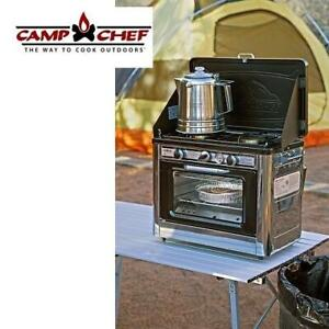 NEW* OUTDOOR 2 BURNER CAMPING STOVE COVEN 250019494 CAMP CHEF OVEN WITH 2 BURNER STOVE  BLACK SILVER