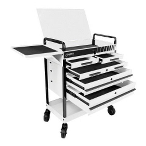 Heavy Duty 5 Drawer Service Cart - White SUN8045WH Brand New!