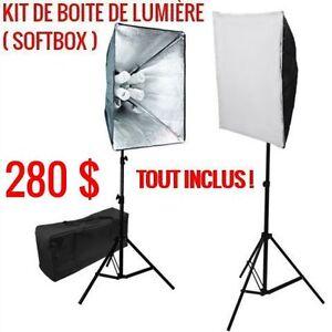 2X KIT DE BOITE DE LUMIÈRE (SOFTBOX) = 280 $