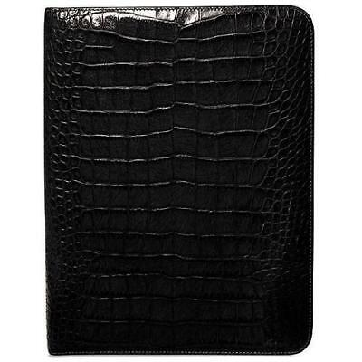 Jack Georges Croco Letter Size Writing Pad Cover In Black