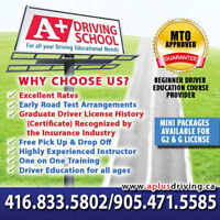 Driving School,Driving Lessons 416-666-6060 www.aplusdriving.ca