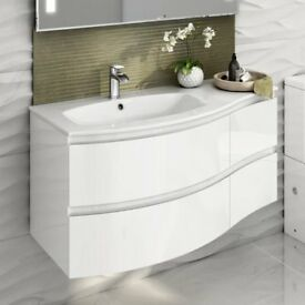 1040mm Amelie High Gloss White Curved Vanity Unit - Left Hand - Wall Hung - New and Unused