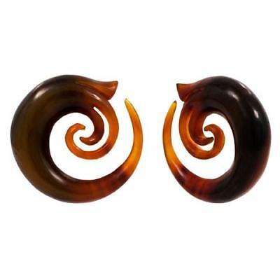 Whimsical Golden Blond Buffalo Horn Organic Ear Spiral Taper