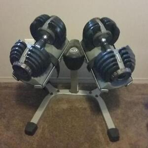 Pair of Nautilus adjustable dumbbells range from 5lb to 52.5lbs