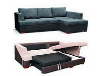 **FREE DELIVERY** BRAND NEW Fabric Corner Sofa Bed Sette in Black/Grey or Brown/Beige color