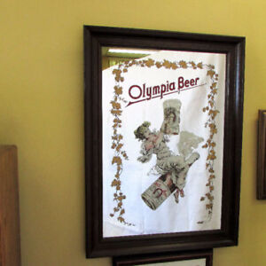 "LARGE BAR MIRROR OLYMPIA BEER 30"" X 22"" VINTAGE DECOR MAN-CAVE"