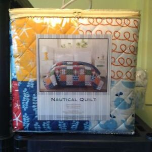 Brand new King size Quilt --- Nautical --- Reversible ----