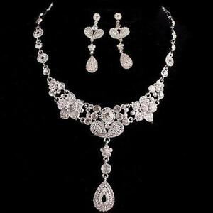 Dramatic Glamor Necklace Earrings Crystal Set Bridal