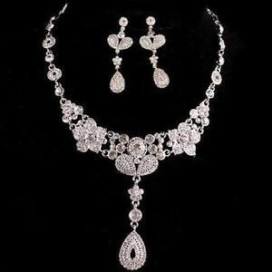 Dramatic Glamor Necklace Earrings Crystal Set Bridal