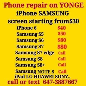 REPAIR SHOP on YONGE, iPhone SAMSUNG repair PROMOTION ,iphone starting $30,SAMSUNG LED screen starting 40, fix ON SPOT