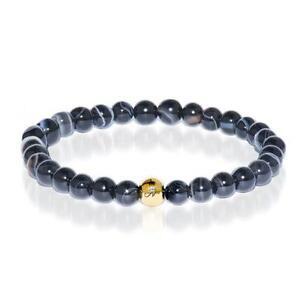 50% OFF All Jewellery - Courage | Gold Essence Black Line Agate Bracelet