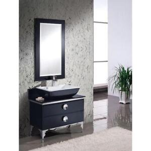 "36"" Single Modern Glass Bathroom Vanity Set with Mirror"