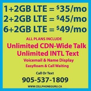 $49/mo 8GB LTE + Unlimited Canada-Wide Talk & Text ~ Plans By Cell Phone Guru