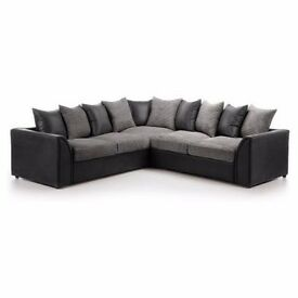 EXPRESS DELIVERY ALL UK | BRAND NEW LIVERPOOL BLACK/GREY CORNER SOFA | 1 YEAR WARRANTY